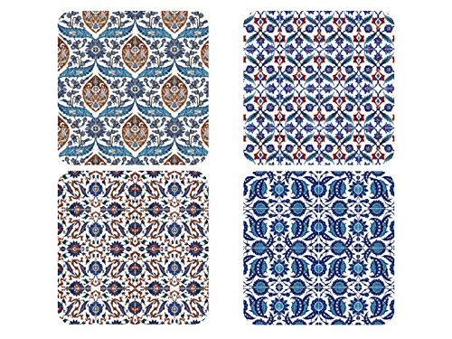 4er Set Vintage Untersetzer Positano Muster Kacheln Glasuntersetzer aus Holz