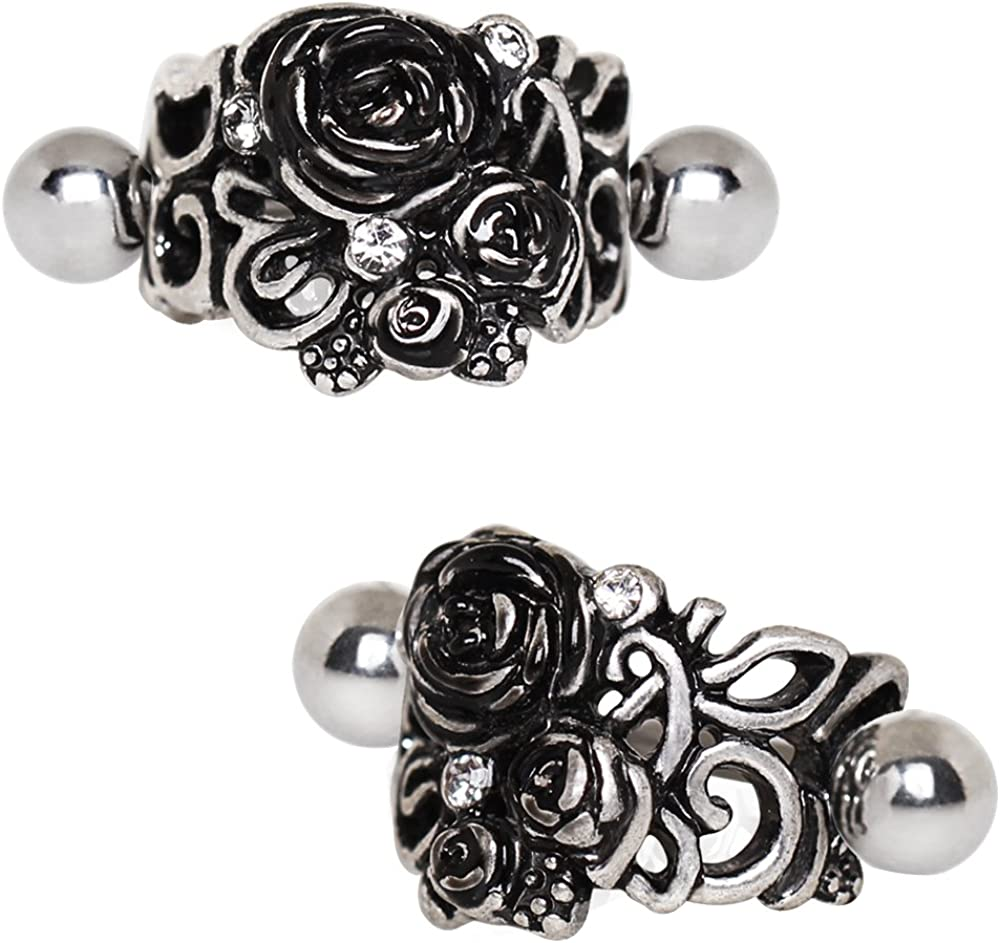Covet Jewelry 316L Stainless Steel Black Roses Cartilage Cuff Earring