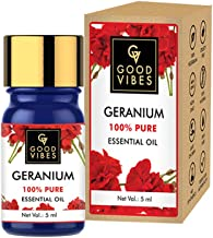Good Vibes 100% Pure Geranium Essential Oil - 5 ml - Promotes Hair Growth, Reduces Wrinkles and Fine Lines, Soothes and Ca...