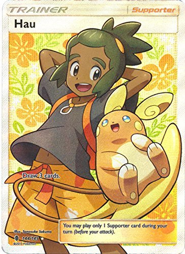 Pokemon Sun & Moon Guardians Rising Ultra Rare Holo Full Art Hau #144