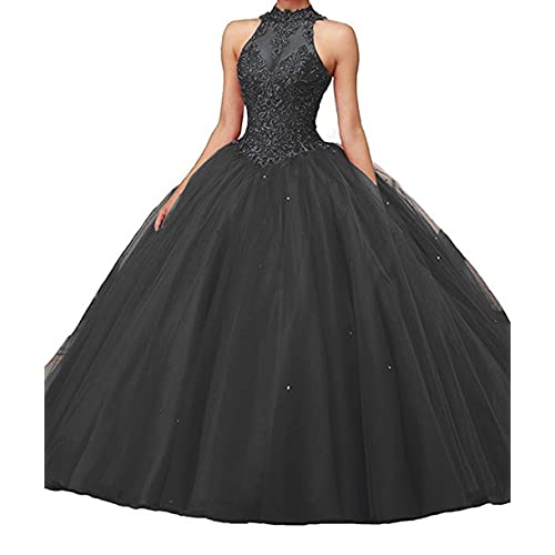 84a2baa4586 CharmingBridal High Neck Lace Prom Pageant Ball Gown Quinceanera Dresses