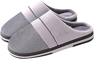 XXYANZI Homme Pantoufles Grande Taille Chaussons Anti-dérapante Chaussures Doublées en Peluche Chaussures Confortable Hive...
