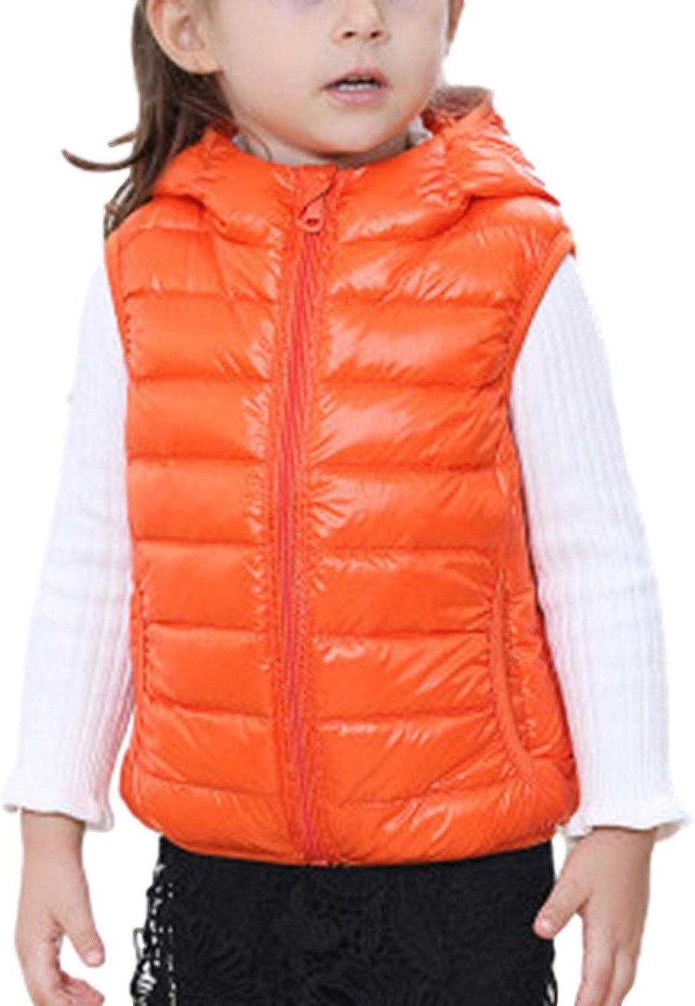 AMEBELLE Toddler Boys Girl's Lightweight Water-Resistant Zip Up Hooded Puffer Vest