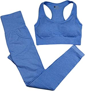 XFKLJ Sports Bra Yoga Pants 9 Colors Seamless Yoga Set Women Fitness Clothing Sportswear High Waist Gym Leggings+Push Up S...