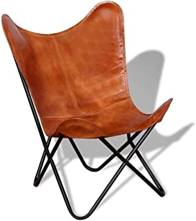 SR - Silla de piel para sala de estar, diseño de mariposa, color marrón, hecha a mano con marco de hierro plegable con rec...