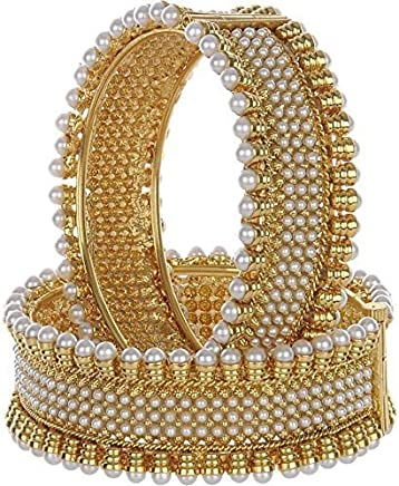 Valentine Gifts : YouBella Traditional Jewellery Gold Plated Pearl Bracelets Bangles Jewellery for Women and Girls