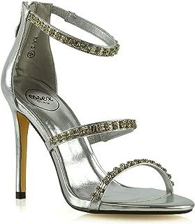 ESSEX GLAM Womens Stiletto Heel Sandals Ladies Diamante High Heel Party Prom Shoes