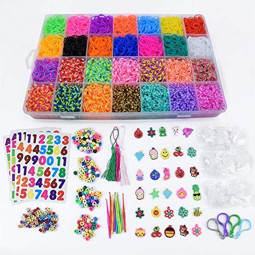 SMYUI - Juego de bandas para bricolaje, juego de pulsera, juego de juguetes, caja, bricolaje para niñas, regalo, kits de manualidades para niños, amistad (lujo, 10,000 piezas con 28 rejillas)