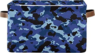 WXLIFE Storage Basket Bins Navy Blue Camo Camouflage Print Large Storage Boxes Cubes Collapsible Organizer with Handles, F...