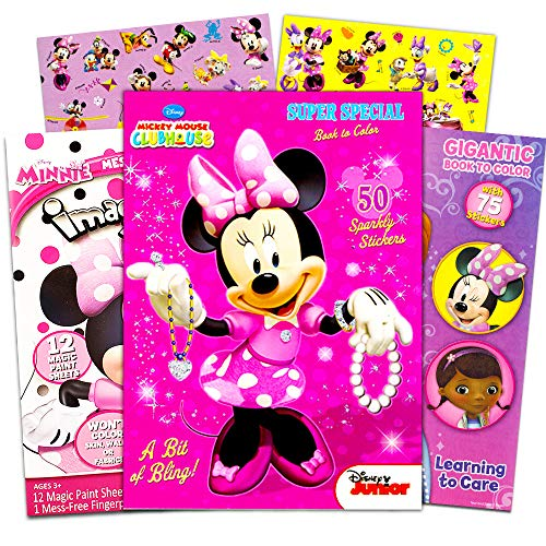 Disney Minnie Mouse Coloring Book Bundle -- 3 Pack Coloring Books with Stickers (Minnie Mouse Party Supplies Pack)