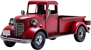 SOFFEE DESIGN 12in Collectible-Vehicles Classic Red Truck, Pick-up Model Iron Decorations, Collectible Figurines Home Décor Desktop Car Accessory, Christmas Red Truck Decor