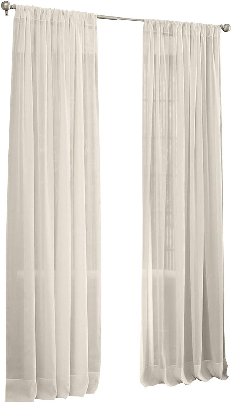 LA Linen Sheer Voile Drape Panel (Pack of 1), 168 by 118 , Ivory