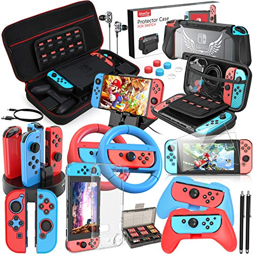 HEYSTOP 25 in 1 Accessories Bundle Compatible with Nintendo Switch,Carry Case, PlayStand, Joycon ,Steering Wheel, Joycon Grip, Screen Protector, Protective Case Cover, Controller Charge Dock &More