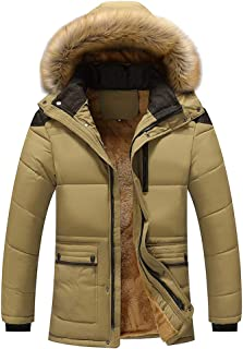 BOZEVON Men's Winter Quilted Coats - Thick Warm Long-Sleeve Casual Padded Jacket Slim Fit Coat with Hood Plus Sizes