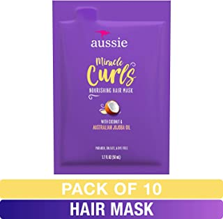 Aussie, Miracle Curl Mask, with Coconut and Jojoba Oil, Moisturize and Restore, 1.7 fl oz, 10 Count