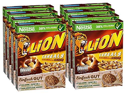 Nestlé Lion Cereals (Schoko Cerealien mit Karamell und 41% Vollkorn, Frühstücksflocken mit Vitaminen und Mineralstoffen) 8er Pack (8 x 400 g)