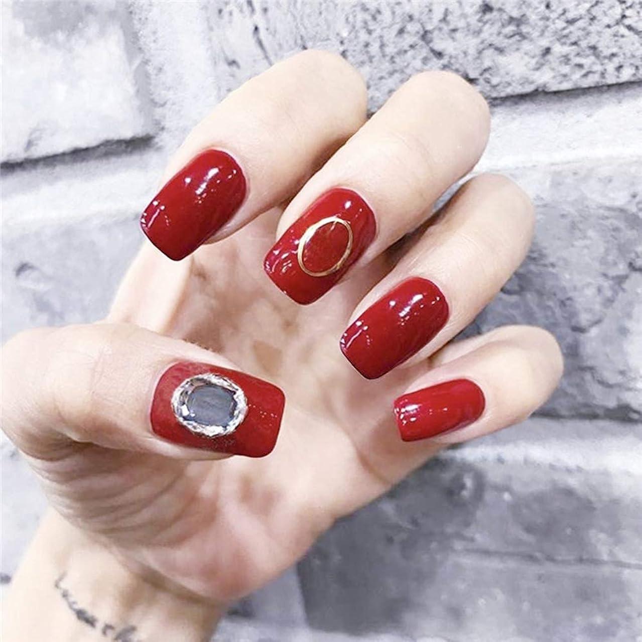 中傷土地電極XUTXZKA 花嫁の明るい赤の純粋な色の装飾の偽の釘の女性完全な釘の先端の釘