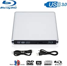 Blu Ray Drive External, Blu-ray Player USB 3.0 DVD CD RAM Burner Play 3D 4K Disk CD Re-Writer Ultra-Slim Portable Compatible for Notebook Mac Book OS Windows 7 8 10 PC (Sliver)
