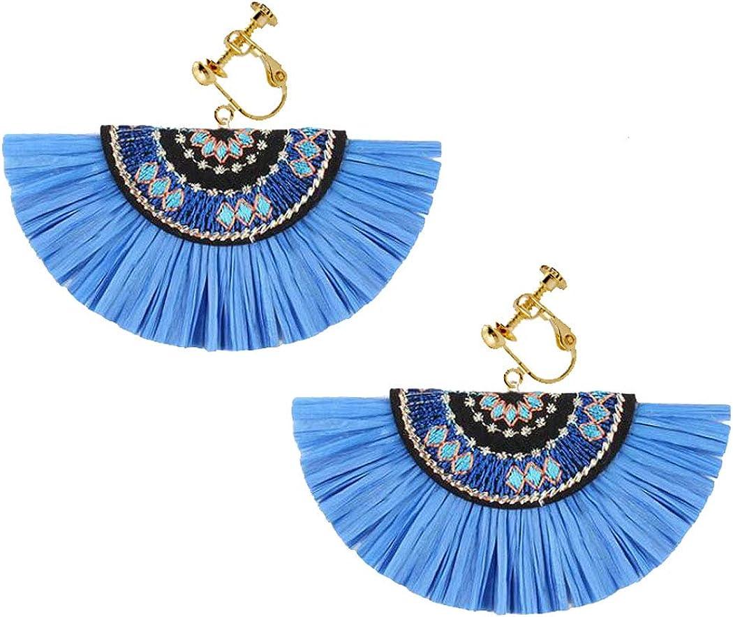 Raffia Fixed price for sale Straw Tassel Clip on trend rank Secto for Non-pierced Earrings Women