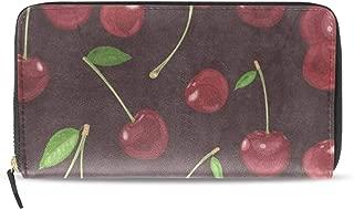 Womens Wallets Vintage Cherry Fruit Leather Passport Wallet Coin Purse Girls Handbags