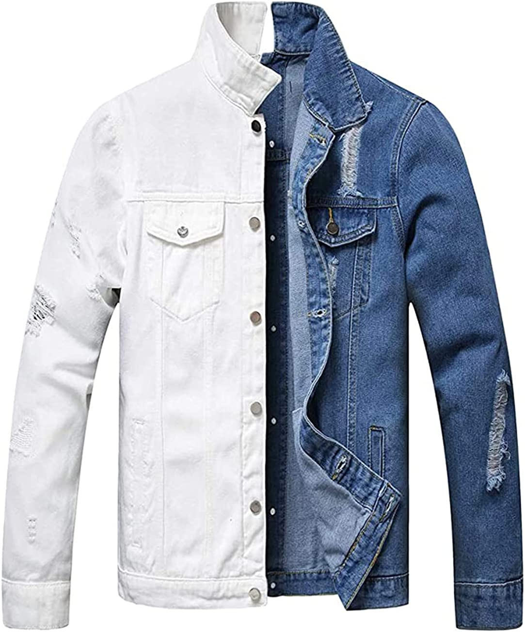 Jean Jacket for Men Lightweight Separable Left&Right Button Front Back Ripped Denim Jackets Soft Cotton Slim Fit Cool Stylish