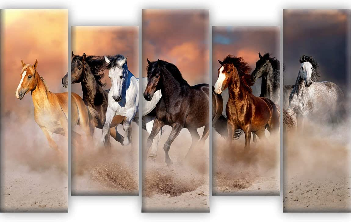 SAF Set 超歓迎された 限定タイムセール of 5 Seven Running Vastu Decorat Home Horses Textured UV