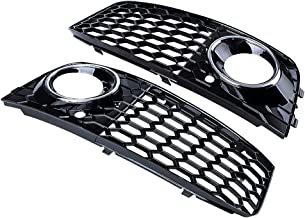 Astra Depot 2X Chrome Ring Glossy Black Honeycomb Fog Light Lamp Cover Grille Compatible with 08-12 Audi A4 B8