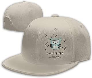 Blue Owl Sweet Dreams Little One Flat Visor Baseball Cap, Designed Snapback Hat Gray