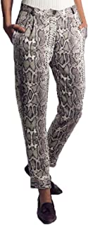 Qootent 2019 Women Snake Print Trousers Loose Pocket Zipper Pants Casual Pants
