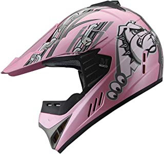 Kid Youth ATV Motocross Dirt Bike Mountain Bike Off Road Quad MX Helmet (196_pink, YL)