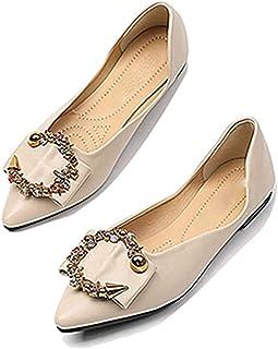 2ea210456ff000 Chaussures Plates pour Femmes avec Bout Pointu et Boucle de métal pour  Dames Confortables et Confortables