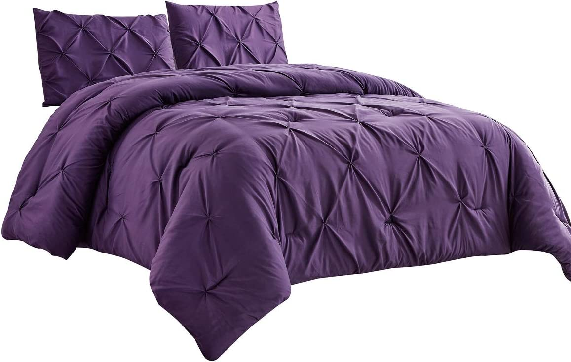 WPM 3 Piece Microfiber Philadelphia Mall Comforter Sale price Set Down Pintuck Pleat Al Pinch
