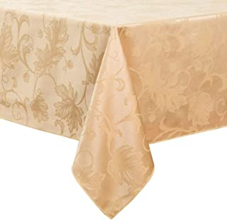 Autumn Vine 60 Inch x 144 Inch Oblong Tablecloth in Gold Damask