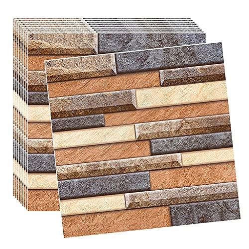 Paneles de pared 3D 10 unids 3D Piedra Faux Piedra Paneles de Pared Decoración Peel and Stick Tile Backsplash Fash 12x12 pulgada, Afilar Afile Afirmación Azulejos Azulejos Stick En Cocina Cuarto de ba