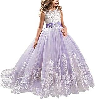 a03e8c5566e28 NNJXD Robe brodée de Bal en Tulle de Princesse pour Partie Formelle Longue  Queue Robes