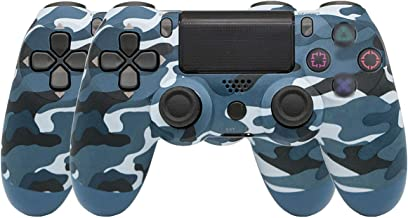 $60 » Ambllers with Light Bar 4th Generation PS4 Controller Wireless Bluetooth Artifact PS4 Game Handle 1 Pack (2 Blue Camo (Sno...