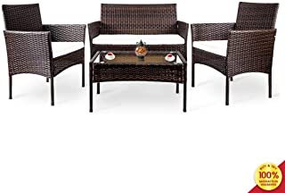 Suwikeke 4 PC Outdoor Garden Rattan Patio Furniture Set Cushioned Seat Wicker Sofa, Deep Brown