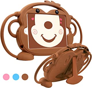 Protective iPad Mini 4 3 2 1 Case for Kids, Dowpar Shockproof Silicone Case with Handles for Carrying or Hanging, Standing with Bracket for iPad Mini Tablet -Brown