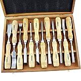 Rdeer 12pcs Lot de sculpture sur bois outils de travail du bois Burin kit outils pour sculpture Graving couteau en boîte Burin...