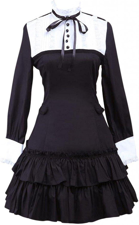 Cemavin Womens Black Long Sleeves Ruffled Cotton Lolita Blouse