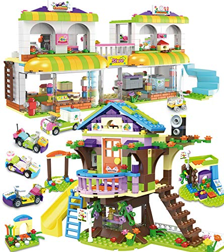 1195 Pieces Tree House Building Toy Kit, Shopping Supermarket Creative Blocks Set for Kids - Portable Storage Box with Base Plates Lid - Best Learning and Roleplay Gifts for Boys Girls Ages 6-12