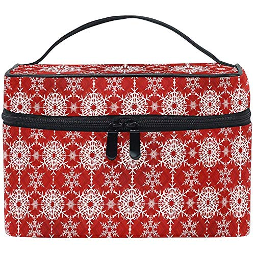Winter Sneeuwvlokken make-up tas Kerstmis make-up tas toilettas draagbare rits Brush Bag Organizer opslag