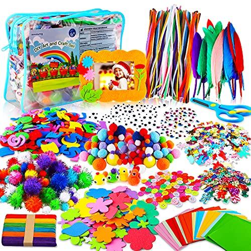 aovowog 1600+ Bricolage Enfant Cure Pipe Cleaners Crafts Kit,DIY Activites Manuelles Pompons Loisirs Creatifs,Jouets éducatifs Set avec Feutre de Couleur Pompons Plume Paillettes Bâtons Googly Eyes