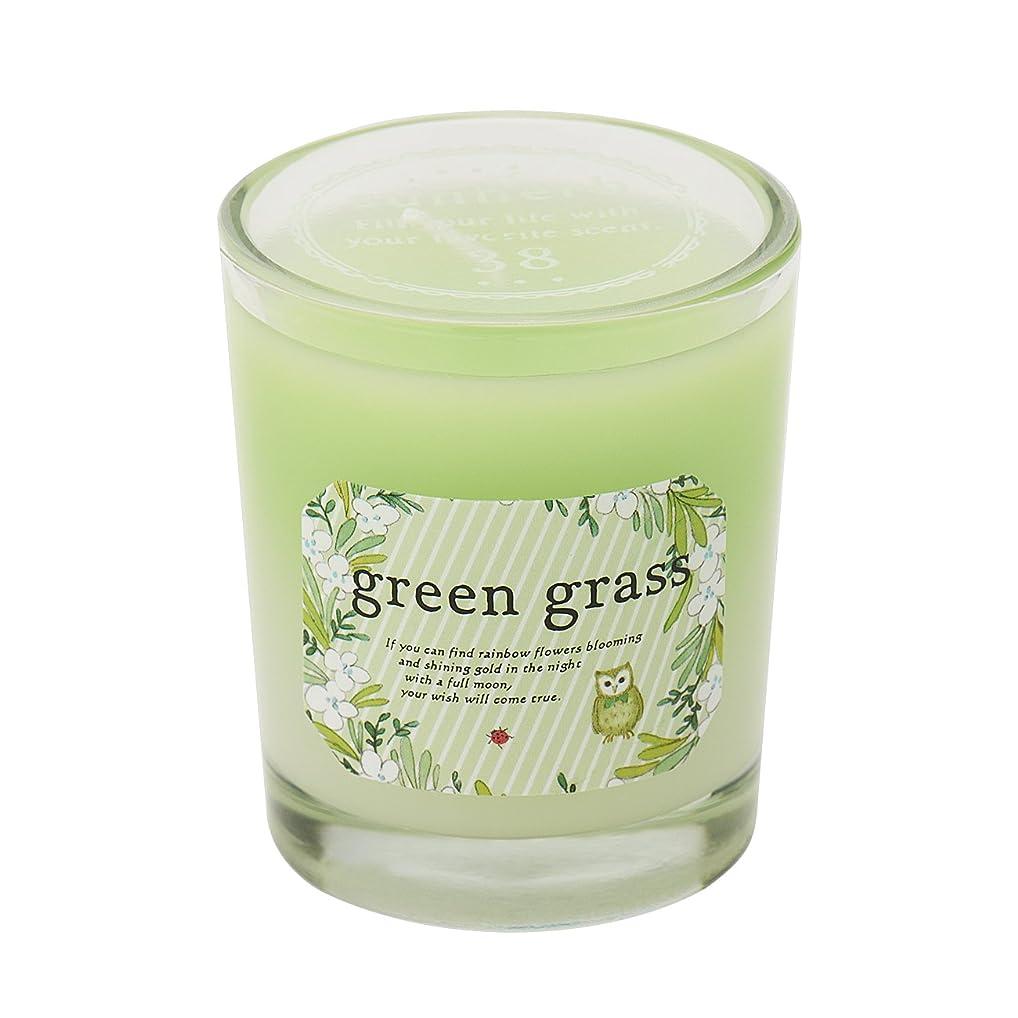 オーバーフロー控えめなパックサンハーブ グラスキャンドル グリーングラス 35g(グラデーションろうそく 燃焼時間約10時間 爽やかでちょっと大人の香り)
