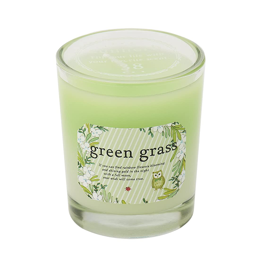 分解する潮後サンハーブ グラスキャンドル グリーングラス 35g(グラデーションろうそく 燃焼時間約10時間 爽やかでちょっと大人の香り)
