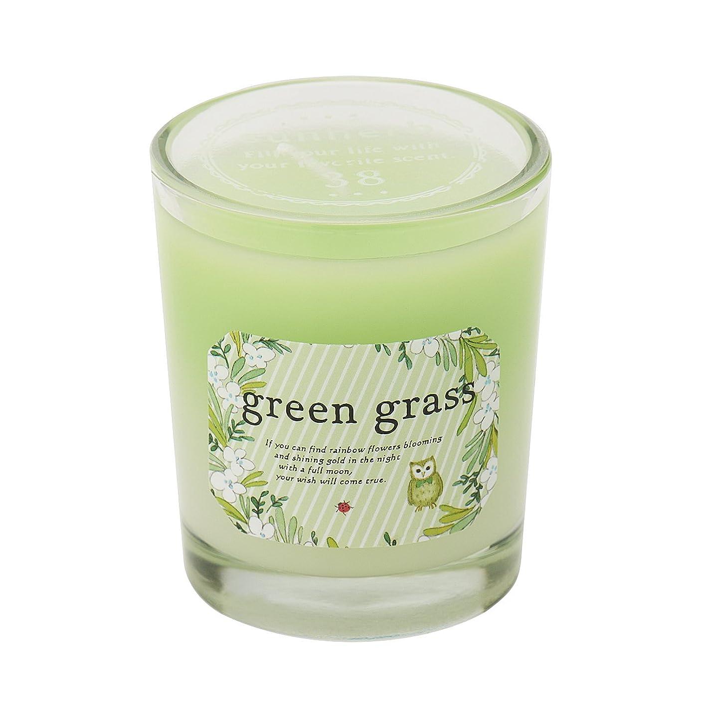 レール娯楽関係サンハーブ グラスキャンドル グリーングラス 35g(グラデーションろうそく 燃焼時間約10時間 爽やかでちょっと大人の香り)