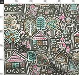 Rotkäppchen, Märchen, Kuckucksuhr, Deutsch, Häuser, Katze Stoffe - Individuell Bedruckt von Spoonflower - Design von Studio Amelie Gedruckt auf Leinen Baumwoll Canvas