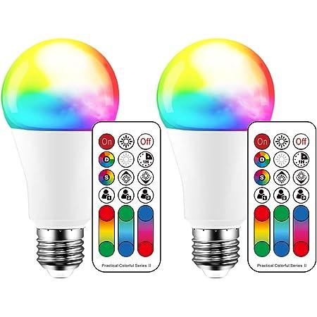 Lampadina LED cambia colore, 120 colori, equivalente a 70 Watt, strobo fai da te, bianco caldo 2700K RGB con telecomando, LED 10W A60 E27 vite (confezione da 2)