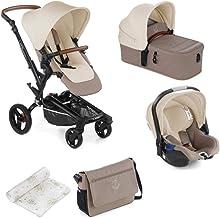 Jané Rider - Cochecito de bebe 3 piezas, capazo plegable, portabebé homologados y silla de paseo, con bolso y plástico de lluvia, plegado compacto, hamaca reversible, unisex