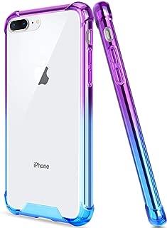 Salawat for iPhone 7 Plus Case, Clear iPhone 8 Plus Case Cute Anti Scratch Slim Phone Case Cover Reinforced TPU Bumper Shock Absorption Protective Case for iPhone 7/8 Plus (Blue Purple)
